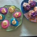 Colored Deviled Eggs and Crispy Rice Confetti Eggs
